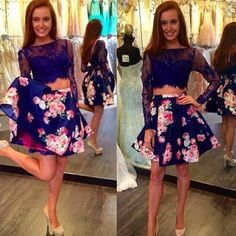 Sexy Two Piece Prom/Homecoming Birthday Party Dress - Royal Blue Floral with Lace