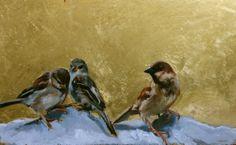Eva de Visser – Title: Siblings (Broer en zussen). Oil on wood, gold foil. W: 40 cm x H: 29 cm. 2011