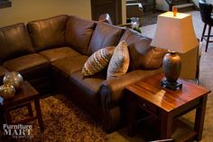 Great leather sectional to for any man cave #TheFurnitureMart #FallParadeOfHomes2014 #SiouxFalls