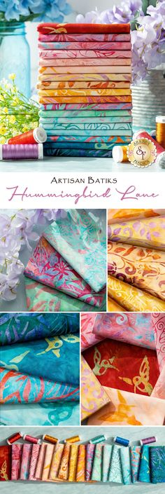Hummingbird Lane is a colorful Artisan Batik collection by Robert Kaufman Fabrics. Add these hummingbird batiks to your next summer project! Site Sign, Shabby Fabrics, Teal Orange, Robert Kaufman, Hummingbird, Artisan, Butterfly, Colorful, Floral