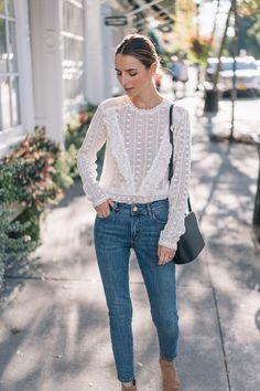 7b870030da655 Jess Ann Kirby wears a Sezane Madeleine blouse and the slim jean in  Providence Beautiful Outfits