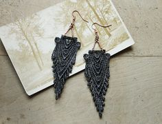art deco lace earrings // HIPPOLYTA // gray earrings,  gatsby style, boho chic,  wedding, gift for her,  long earrings, anthro style