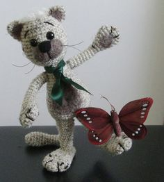 Cat and Butterfly OOAK Stuffed Animals Crochet Handmade Soft toy decor Amigurumi Made to order