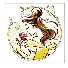 【Disney美女と野獣】BIGステッカー(ベル/大)★フローラルポートレイト★