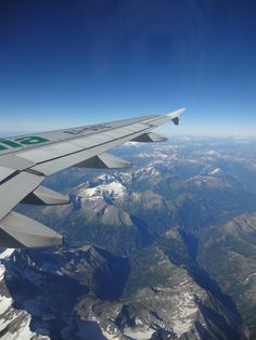 Airplane view above the Alps.