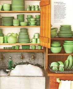 Jadeite Dinnerware Collection (from the September issue of Martha Stewart Living)