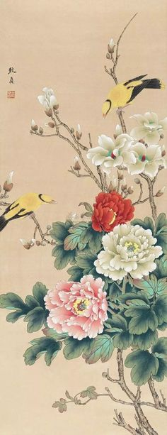 Korean Painting, Japanese Painting, Chinese Painting, Asian Flowers, Oriental Flowers, Botanical Illustration, Illustration Art, Chinese Picture, Hand Painted Fabric