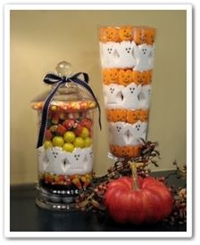 Halloween Apothecary Jars ~ whimsical assortment of jars filled with candy corn, black licorice, white & orange gum balls, and ghost & pumpkin peeps