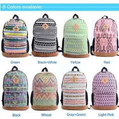 Back to School College Back Pack Retro Vintage Chevron Boho Prints #Backpack