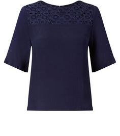 Navy 1/2 Sleeve Embroidered Yoke Top