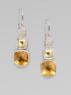 David Yurman - Diamond Accented 18K Gold Citrine Drop Earrings