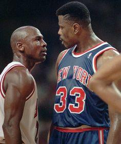 Michael Jordan staring down Patrick Ewing. Credit to SI Vault.