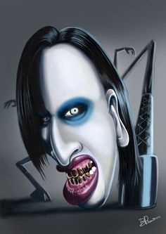 Marilyn Manson Caricature by Bruno Sousa, via Behance