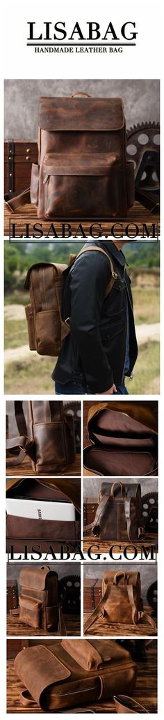 5339a83835 Handmade Coffee Black Leather Backpack School Backpack Travel Backpack 14   Laptop  Bag NZ11 - Coffee Black