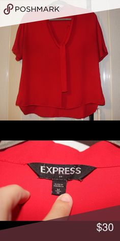 Women's red Express top medium Very comfy and cute shirt. Perfect for the office or a dinner date. Express Tops Blouses