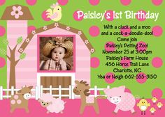 Pink and Green Farm Birthday Party Invitations - Printable or Printed - Farm 1st Birthday Invite - Digital DiY Personalized Template Welcome to