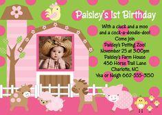 Farm Birthday Invitation  Pink Farm Party by CutiesTieDyeBoutique, $15.00