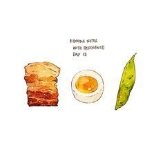 Chef_Bogo(@chef_bogo) 님 | 트위터 Food Graphic Design, Food Design, Street Art Graffiti, Cute Food Drawings, Food Doodles, Watercolor Food, Japanese Dishes, Warm Food, Food Journal