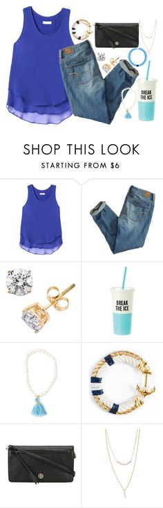 """""""blue n white💭💎"""" by thefashionbyem ❤ liked on Polyvore featuring Rebecca Taylor, American Eagle Outfitters, Kate Spade, Tory Burch and Forever 21"""