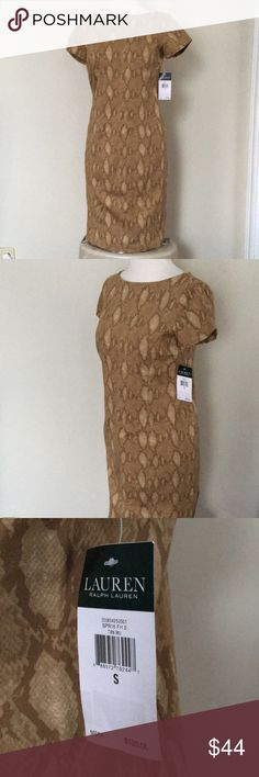 LRL Ralph Laurent Tan snake print dress S LRL Ralph Laurent Tan snake print dress S Lauren Ralph Lauren Dresses