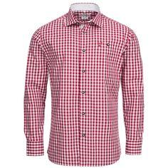 Trachtenhemd Body Fit in Rot von Gweih und Silk