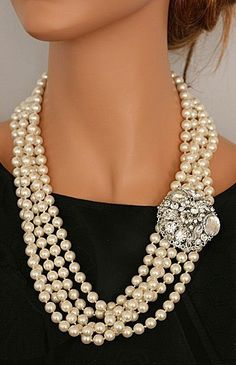asymmetrical pearl necklace ♥✤ | Keep the Glamour | BeStayBeautiful