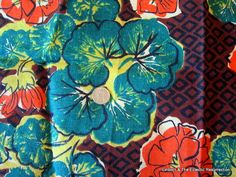 Vintage 1940s Bark Cloth Fabric Geometric Floral 24 x by linbot1, $20.00