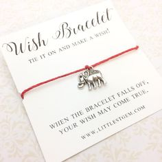 Elephant Tie-On Wish Bracelet - friendship bracelet - best friend gift - best friend bracelet - gift for her - elephant bracelet