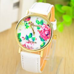 ** Sold Out** White Floral Face Strap Watch   $35
