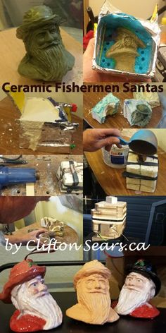 Made a plaster mold to make some fishermen Santa tree ornaments. Plaster Molds, Sculpting, Santa, Ceramics, Ornaments, Wood, How To Make, Ceramica, Sculpture