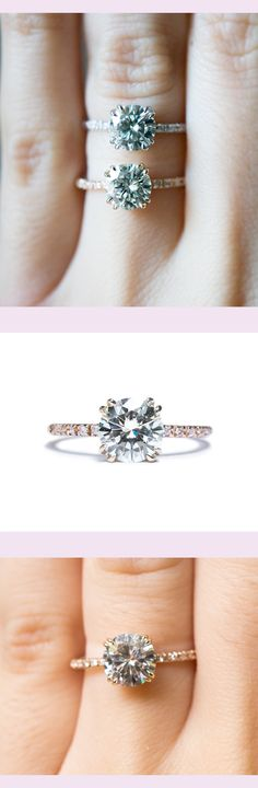 Moissanite Solitaire engagement ring by S. Kind & Co.