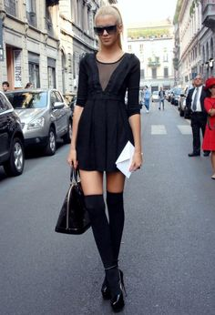 Socks and heels for spring 2014.  If you can pull off this look, then go for it! How to Wear Knee High Socks: 19 Stylish Outfit Ideas