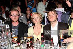 Simon Pegg, Amanda Abbington and Martin Freeman