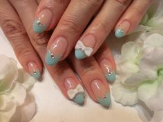 CUTE!!!    Baby blue tips with white 3D Bows.  Nail Art Manicure  四日市プラネタリウム☆