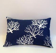 Lumbar pillowcover in nautical navy blue grey and by ShadoBox, $18.00