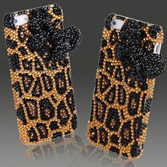 Fashion Crystal Bling Leopard Pattern with Bow Tie iPhone 5 & New 5S Case