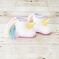 Crochet Baby Unicorn Shoes Boots Bootsies Slippers Infant Newborn Baby Handmade Baby Shower Gift Present - Red Lollipop Boutique Free Crochet Patterns for Baby Items for New Year 2019 Part baby crochet patterns free; Crochet Baby and Children's Clothing a Crochet Unicorn, Baby Unicorn, Crochet Baby Blanket Beginner, Baby Knitting, Crochet Baby Booties, Crochet Slippers, Handgemachtes Baby, Accessoires Photo, Baby Sweaters