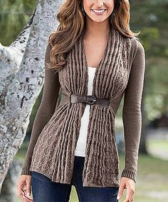 Look at this Body Language Brown Front-Close Wool-Blend Cardigan on #zulily today!