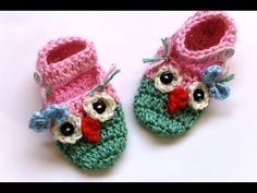 #Crochet owl booties with ankle strap - These are so cute!  Easy to follow video tutorial