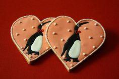 Penguin Cookies~                          By icing cookies now Farina - Orange, heart