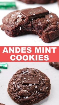 These Chocolate Andes Mint Cookies are super soft, chewy and full of mint and chocolate flavor in every bite! Once cooled, top with an Andes mint and flaky sea salt – it's totally non negotiable! You're going to fall in love with these brownie-like cookies, they're a new favorite! #andes #andesmints #andescookies #chocolate # christmascookies #christmasbaking #diyfoodgift #recipes #christmascookieexchange #christmascookierecipe #holidayfood #christmasfood #xmas Andes Mint Cookies, Chocolate Mint Cookies, Sugar Cookies Recipe, Cookie Recipes, Dessert Recipes, Just Desserts, Delicious Desserts, Yummy Food, Chocolate Rice Crispy Treats