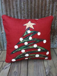 New 2016! Christmas Tree, Hand-painted, Cranberry, Designer Fabric, Whimsical…