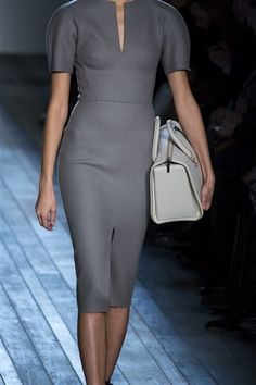 Victoria Beckham Fall 2013 RTW - Grey felt wool structured dress, pic2