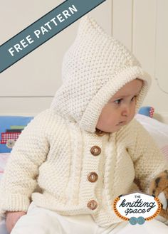 Winter Knitting Patterns, Baby Cardigan Knitting Pattern Free, Knitted Baby Cardigan, Knit Baby Sweaters, Knitting For Kids, Free Knitting, Baby Boy Cardigan, Baby Vest, Hooded Cardigan