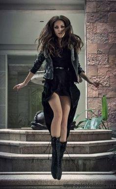 Black Leather Jacket – Black Mini Skirts