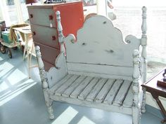 This is a great idea for the black 4 post frame, a bench for the front porch