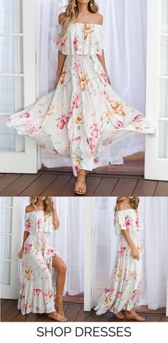 Catch the trend with this short sleevefloral casual maxi dress! Explore more fashion ideas at CA-MODE.COM. #dresses #womensfashion #trending
