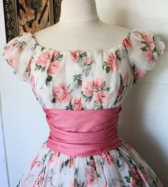 THE ULTIMATE 1950's Sheer Rose Dress with a ruched, wide belt.