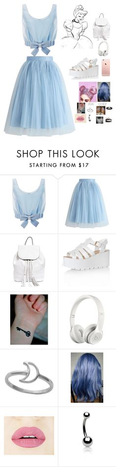 """""""Inspired Disney Princess Pastel Goth: Cinderella"""" by littlegaudet ❤ liked on Polyvore featuring Honor, Chicwish, Rebecca Minkoff, Glamorous, Beats by Dr. Dre, Bling Jewelry and ASOS"""