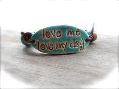 cuff bracelet    love me love my dog    beaded bracelet by 316clay, $22.90